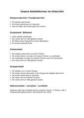 Merkplakat zu den verschiedenen Arbeitsformen im Unterricht