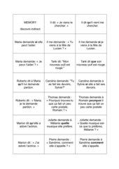 discours indirect: Memo-Spiel / Zuordnungsspiel