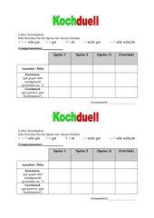 Bewertungsbogen für Kochduell