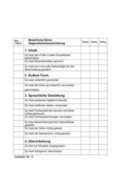 Bewertungsbogen Gegenstandsbeschreibung
