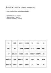 Bataille navale (Schiffe versenken) Üben der Zahlen bis 999999 (Déc.2, Lecon 6)