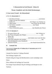 3. Klassenarbeit im Fach Deutsch Satzglieder und Adverbiale Bestimmungen (+Lösung)