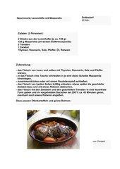 Geschmorte Lammhüfte mit Mozzarella