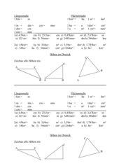 Wdhlg Längen, Flächen, Dreieckshöhen