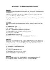 Übungsblatt zur Wdh. von den vier Fällen und Satzgliedern