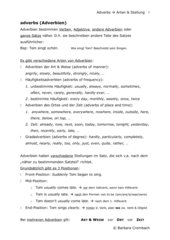Adverbien: Übungsblatt + Lösungen zur Stellung von Adverbien