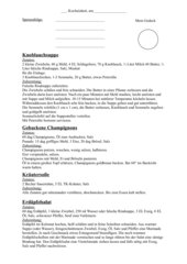 Knoblauchsuppe, geb. Champignons, Kräutersoße, Erdäpfelsalat (Kartoffelsalat)