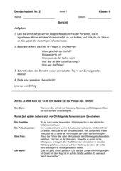 Deutscharbeit Unfallbericht Klasse 6