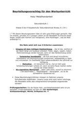 Benotungsvorschlag für den Werkunterricht