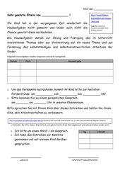 Elternbrief bei vergessenen Hausaufgaben