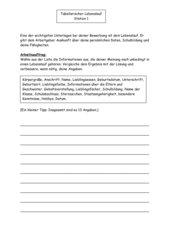Aufgaben/Lernzirkel  zum tabellarischen Lebenslauf
