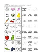 Wortkärtchen Lebensmittel