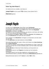 Lebenslauf Joseph Haydn für die Grundschule
