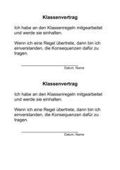 Klassenregeln - Vertrag