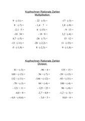 Kopfrechnen - Rationale Zahlen