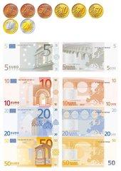 Der Euro - alle Münzen und Scheine (front & back)
