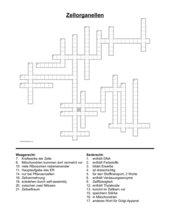 Kreuzworträtsel Zellorganellen