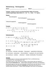 Rechengesetze Test, Lösung, Merkblatt