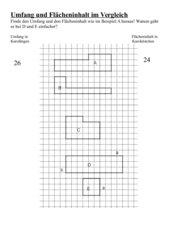 Umfang und Flächeninhalt von Rechtecken im Vergleich