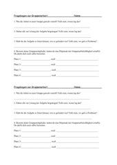 Fragebogen zum Abschluss einer  Gruppenarbeit