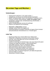 Checkliste für die 1. Schulwoche