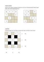 Magische Quadrate und Lückenfüller