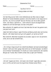 Deutsch Klassenarbeit Leseverständnis Klasse 7 HS