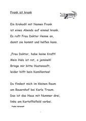 Frank, das kranke Krokodil   Gedicht