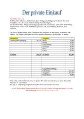 Der private Einkauf - Einnahmen und Ausgaben