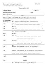 Klassenarbeit: Teiler, Vielfache, Teilbarkeitsregel