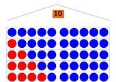 Zahlenhäuser 5-10, DIN A3 mit roten und blauen Plättchen