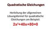 p,q Lösungsformel zur Lösung quadraticher Gleichungen