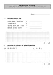 Lernkontrolle 5. Klasse Schweiz
