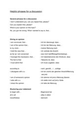 Helpful phrases for a discussion Englisch 11. Klasse