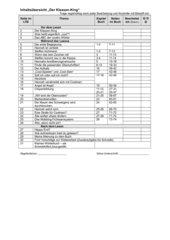 Inhaltsübersicht - Der Klassen-King - Lesetagebuch