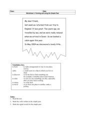 Worksheet Simple Past für BFS
