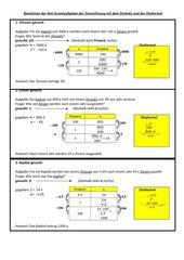 Die drei Grundaufgaben der Zinsrechnung mit dem Dreisatz und der Zinsformel