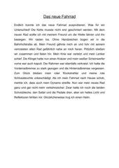 Diktat mit Fahrradwörter Klasse 4/5