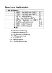 Nettolohn-Berechnung mit Excel - aktualisiert 2009