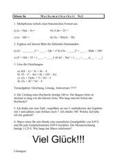 2.Mathematikarbeit Gleichungen und Binomische Formeln