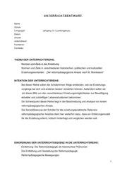 Unterrichtsentwurf :Merkmale der Arbeitsmaterialien M. Montessoris