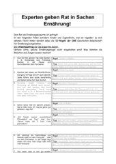 10-Ernährungsregeln der DGE - Übungen (mit Lösungen)