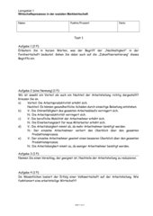 Volkswirtschaftslehre Klasse 11 - Test zu Arbeitsteilung, Wirtschaftskreislauf