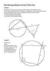 Berechnungsaufgaben mit dem Thalessatz