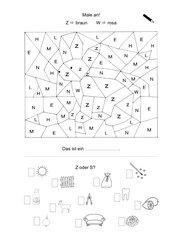 Übungsblatt zur optischen und akustischen Differenzierung des Z