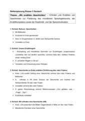 Reihenplanung Klasse 3 Erzählen
