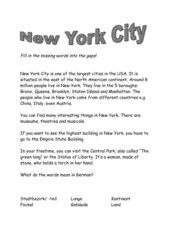 Merktext New York auf Englisch