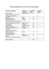Bewertungskriterien Praktikumsmappe