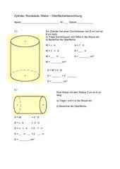 Zylinder - Oberflächenberechnung