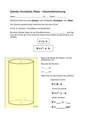 Zylinder - Volumen